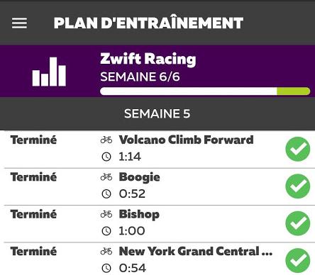 Plan d'entrainement Zwift Racing : Semaine 5