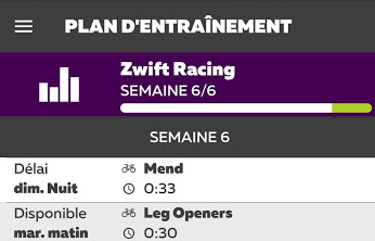 Plan d'entrainement Zwift Racing: le bilan